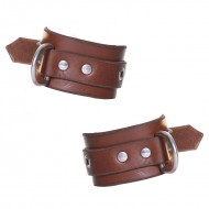 House of Eros Brown Leather Wrist Cuffs